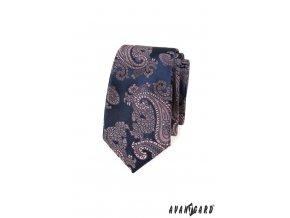 Tmavě šedá luxusní slim kravata se světle růžovým vzorem