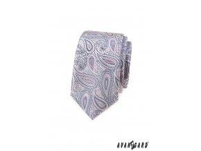 Světle šedá luxusní slim kravata se vzorem