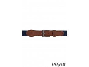 Modrý pánský pásek - hnědá kůže