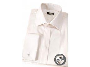 Smetanová pánská slim fit košile s krytou légou, dl. rukáv na manž. knoflíčky, 111-206