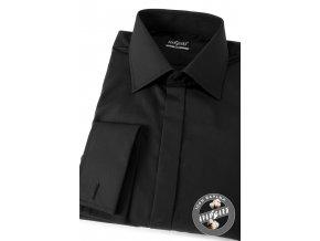 Černá pánská slim fit košile s krytou légou, dl. rukáv na manž. knoflíčky, 111-23