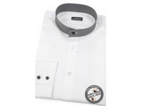 Bílá pánská slim fit košile se stojáčkem, dl.rukáv, 152-0163