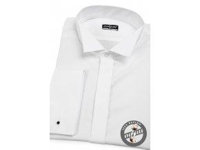 Bílá pánská fraková slim fit košile, dl. rukáv na manž. knoflíčky, 155-1 V1