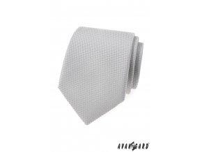 Šedá luxusní kravata s šachovnicovým vzorkem stejné barvy + kapesníček do saka