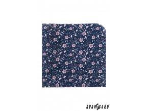 Modrý luxusní kapesníček do saka s pudrovými květy
