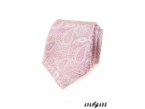 Světle pudrová luxusní kravata se vzorem