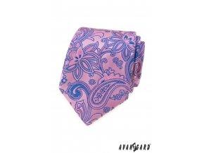 Světle růžová luxusní kravata s modrým vzorem