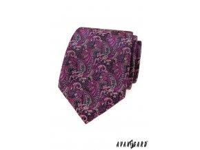 Fuchsiová vzorovaná luxusní kravata s tmavým podkladem
