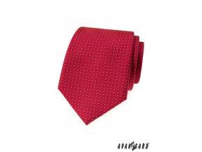 Červená luxusní kravata s tečkami