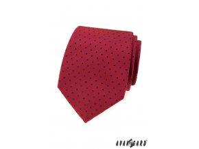 Červená luxusní kravata s tmavými puntíky