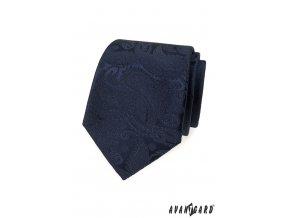 Tmavě modrá luxusní kravata se vzorem stejné barvy