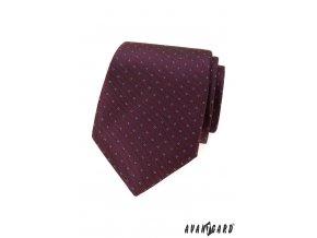 Bordó luxusní kravata s drobným vzorkem