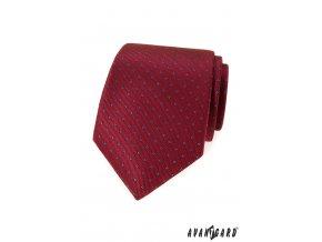Červená luxusní kravata s drobným vzorkem