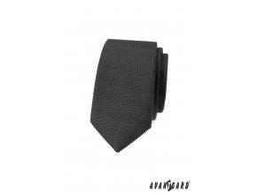 Tmavě šedá slim luxusní kravata s drobným vzorkem