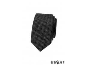 Černá jemně vzorovaná slim luxusní kravata