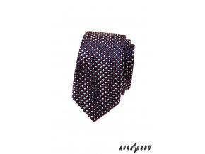 Modrá slim kostkovaná luxusní kravata