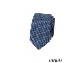 Modrá slim luxusní kravata s mřížkou