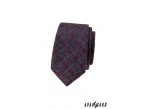 Bordó žíhaná slim luxusní kravata