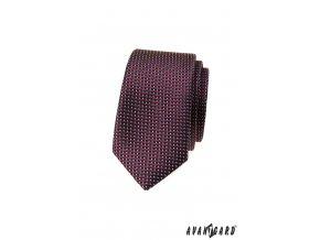Tmavě modrá slim luxusní kravata s proužky a tečkami