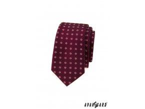 Bordó luxusní slim kravata s kvítky