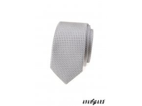 Světle šedá vzorovaná slim kravata