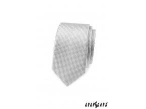 Světle šedá slim kravata s šachovnicovou strukturou