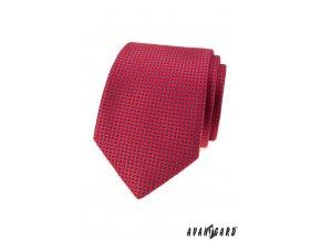 Červená kravata s mřížkou a modrými tečkami