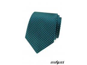 Tyrkysová kravata s trojúhelníkovým vzorem