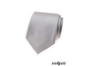 Drobně vzorkovaná světle šedá kravata