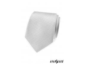 Světle šedá kravata s šachovnicovou strukturou