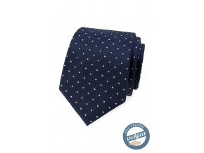 Tmavě modrá hedvábná pánská kravata se vzorem + dárková krabička