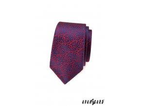 Červená luxusní slim kravata se vzorem - Listy