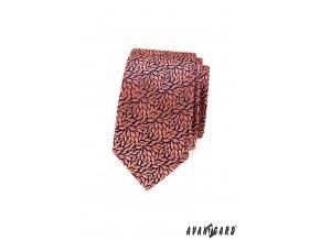 Korálová luxusní slim kravata se vzorem - Listy
