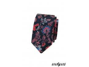 Velmi tmavě modrá luxusní slim kravata s květy