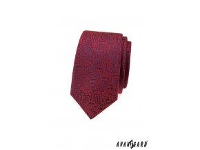 Bordó vzorovaná luxusní slim kravata