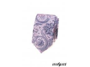 Velmi světle růžová luxusní slim kravata se vzorem