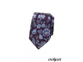 Tmavě fialová luxusní slim kravata s modrými květy