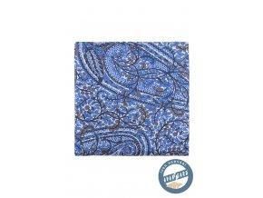 Modrý hedvábný kapesníček do saka s přírodním vzorem