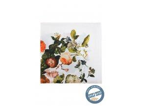 Bílý hedvábný kapesníček do saka s květy