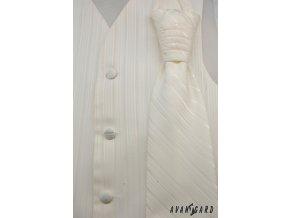 Vesta + regata + kapesníček 552-9528 9528 - smetanová (Barva 9528 - smetanová, Velikost 50, Materiál 100% polyester)