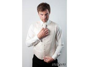 Smetanová jemně lesklá vesta s květovaným vzorem + regata + kapesníček _