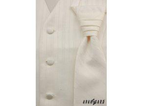 Světle smetanová vesta s různě širokými proužky + regata + kapesníček _