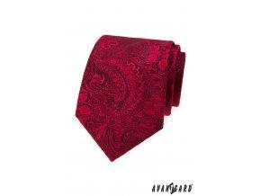 Tmavě červená luxusní kravata se vzorem