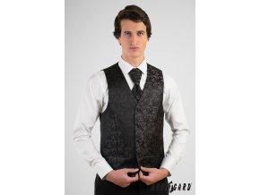 Vesta + regata + kapesníček 552-13 Černá (Barva Černá, Velikost 50, Materiál 100% polyester)