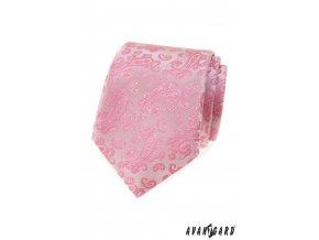 Růžová luxusní pánská kravata s jemným vzorem