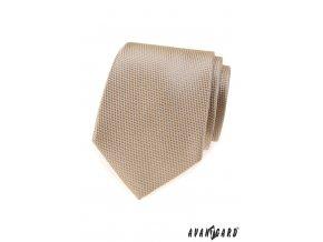 Béžová luxusní kravata s drobným vzorkem
