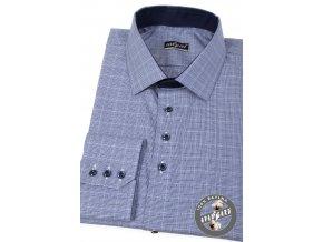 Modrá pánská společenská slim fit košile, dl.rukáv, 107-5516