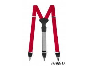 Sytě červené látkové pánské kšandy s černým středem