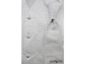 Chlapecká bílá vesta s tmavším květovaným vzorem + regata + kapesníček