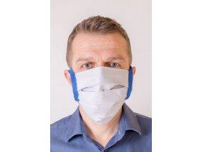 Bílá ochranná rouška na obličej s modrými šňůrami